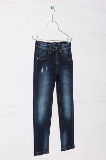 Blue-Black faded stretch jeans