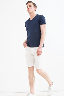 Solid colour 100% cotton Bermuda shorts, Off-white, hi-res