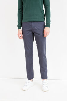 Solid colour regular-fit chino trousers, Blue, hi-res