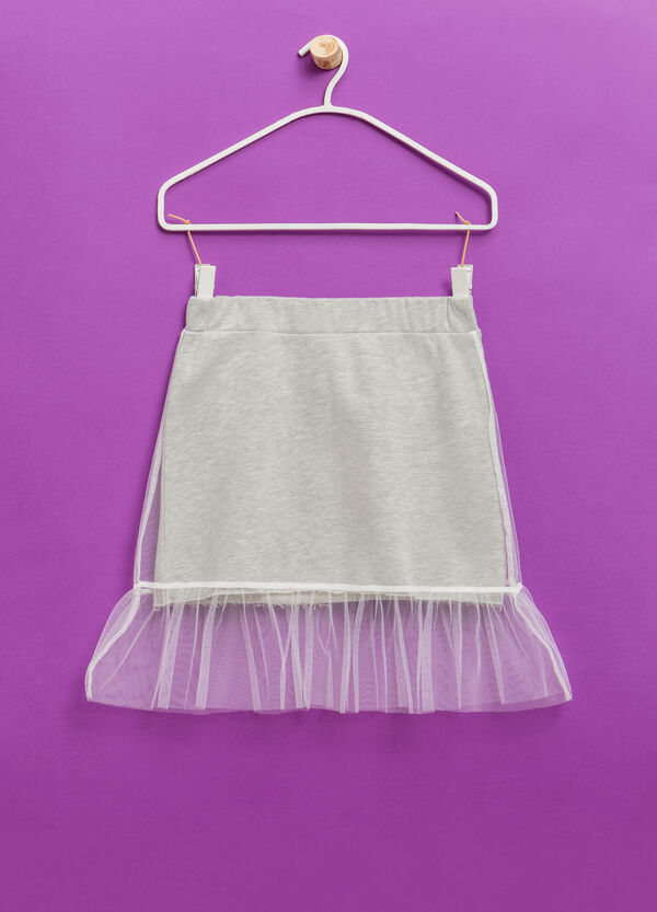 Cotton blend skirt with tulle | OVS