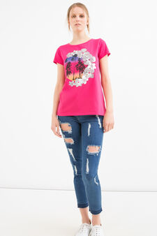 Cotton blend printed T-shirt, Fuchsia, hi-res