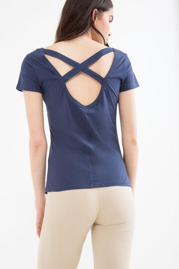 100% cotton T-shirt with crew-neck, Navy Blue, hi-res
