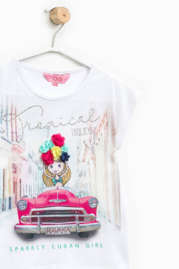 Printed T-shirt with flowers and diamantés, White, hi-res
