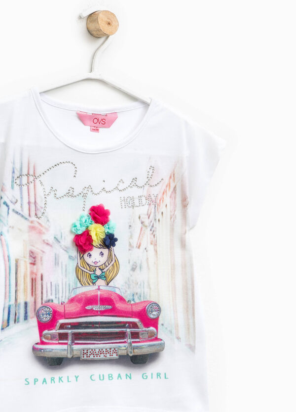Printed T-shirt with flowers and diamantés   OVS