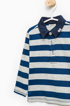 Striped pattern polo shirt in 100% cotton, Royal Blue, hi-res