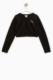 Knitted cotton shrug with diamantés, Black, hi-res