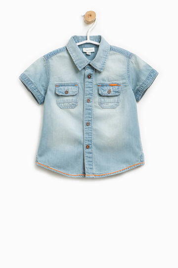 Short-sleeved shirt with faded effect, Soft Blue, hi-res
