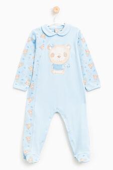 Sleep suit with animal pattern, Light Blue, hi-res