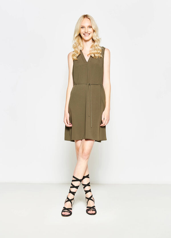 Sleeveless dress with belt | OVS