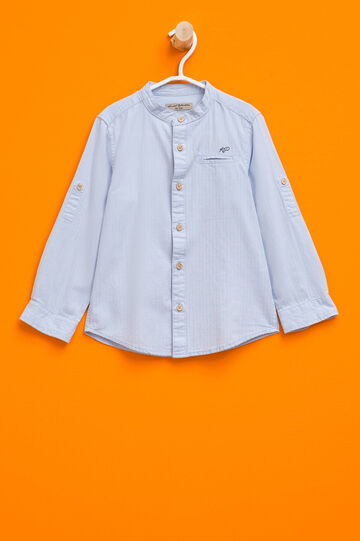 Shirt with striped weave and small pocket, Light Blue, hi-res