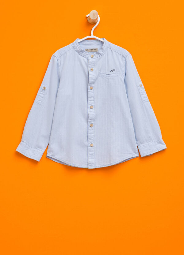 Shirt with striped weave and small pocket | OVS