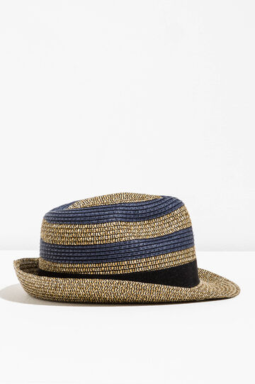 Cappello a falda larga in paglia, Blu/Beige, hi-res