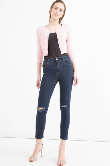 Viscose blend cropped cardigan., Pink, hi-res