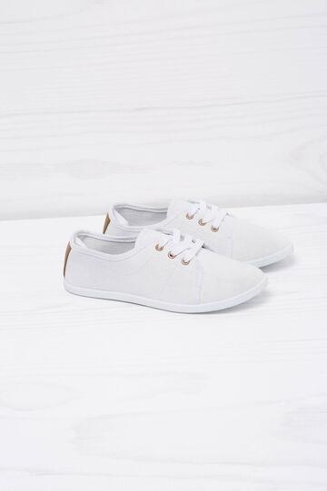 Sneakers basse con lacci, Bianco, hi-res