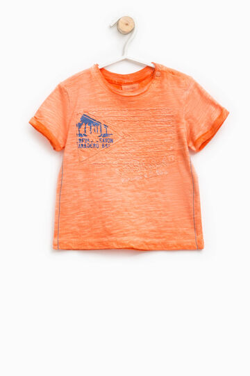 Misdyed-effect T-shirt with print and embroidery, Orange, hi-res