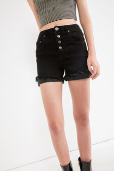 Shorts di jeans stretch vita alta, Nero, hi-res