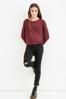 Teen stretch pullover with lace, Black/Red, hi-res