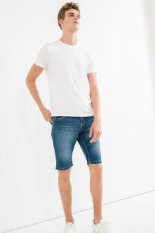 Slim-fit worn stretch denim Bermuda shorts, Medium Wash, hi-res