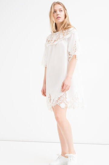Cotton blend dress with lace, Milky White, hi-res