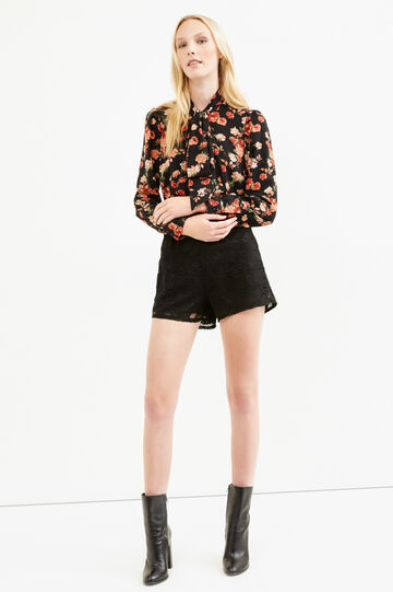 High-waisted shorts in lace, Black, hi-res