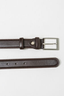 Textured-effect belt with two loops, Dark Brown, hi-res