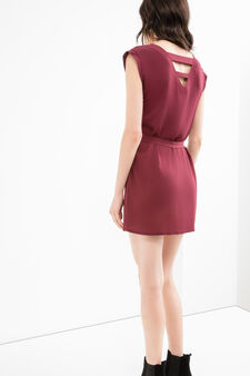 Solid colour stretch dress with belt, Red, hi-res