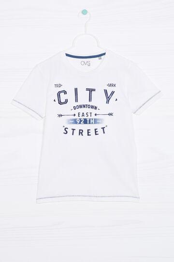 T-shirt con stampa puro cotone, Bianco, hi-res