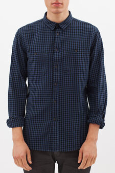 Slim fit check shirt, Blue, hi-res