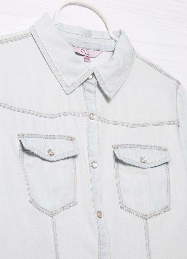 Denim shirt with patch pockets   OVS