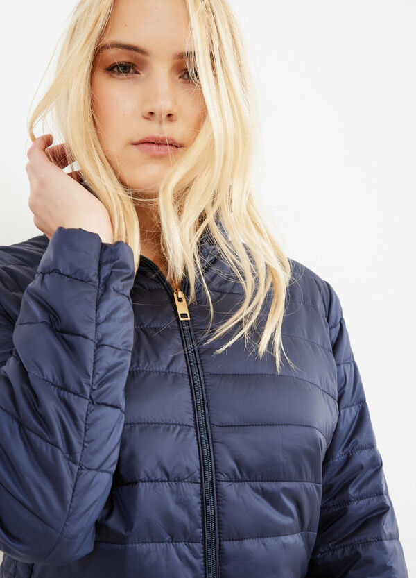 Curvy solid colour down jacket with high neck | OVS