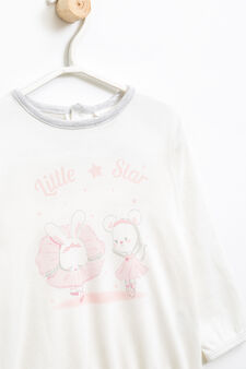 Printed pyjamas in cotton blend, White/Grey, hi-res