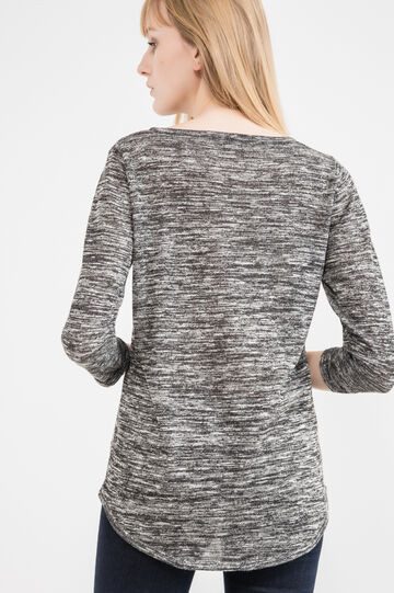 Viscose mélange pullover with stud detail, White/Black, hi-res