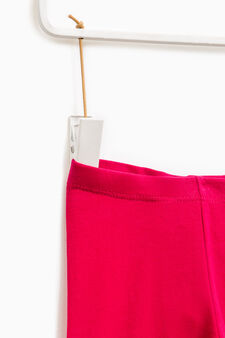 Solid colour stretch cotton leggings, Fuchsia, hi-res