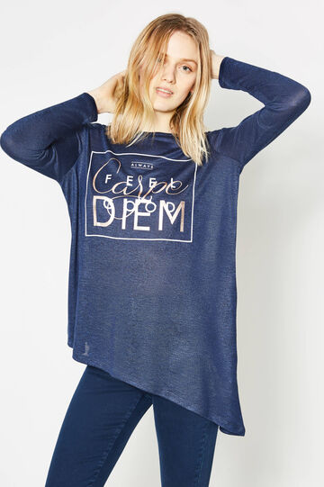 Viscose blend T-shirt with asymmetric hem, Denim Blue, hi-res