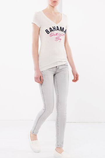 T-shirt con scritta frontale, Bianco latte, hi-res