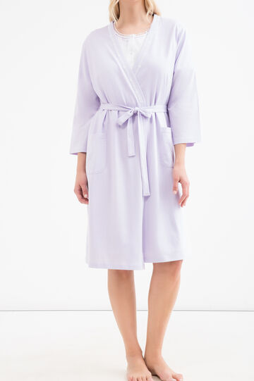Curvy 100% cotton polka dot dressing gown, Lilac, hi-res