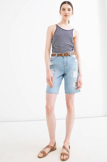 Shorts di jeans strappati, Blu chiaro, hi-res