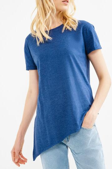 T-shirt taglio al vivo fondo asimmetrico, Blu melange, hi-res