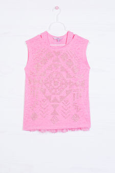 Cotton blend T-shirt with diamantés, Pink, hi-res