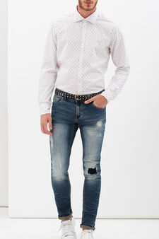 Slim-fit shirt with micro dots., White, hi-res