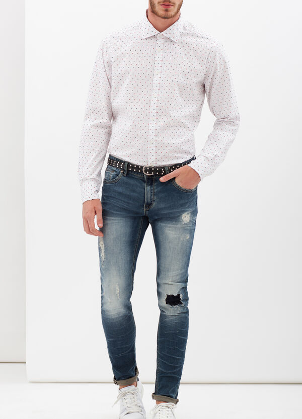 Slim-fit shirt with micro dots. | OVS
