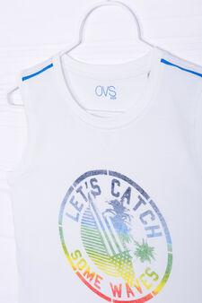 100% cotton printed vest, White/Light Blue, hi-res