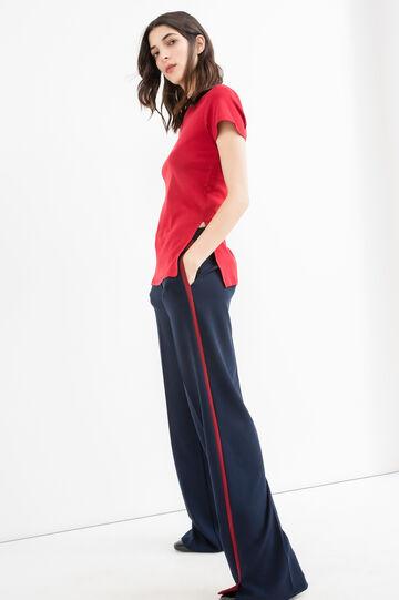 T-shirt puro cotone tinta unita, Rosso, hi-res