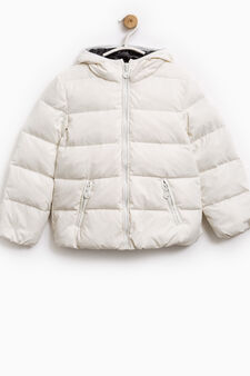 Down jacket with double pocket and hood, White, hi-res