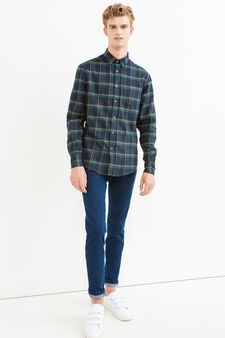 Casual check shirt with button down collar, Blue/Green, hi-res