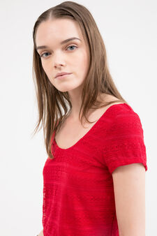 Crop stretch T-shirt with lace, Red, hi-res