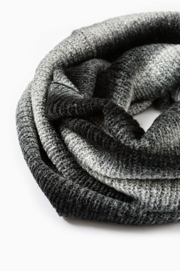 Striped knitted neck warmer, Black/Grey, hi-res