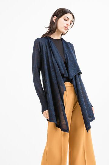 Shawl-neck viscose blend cardigan, Blue, hi-res
