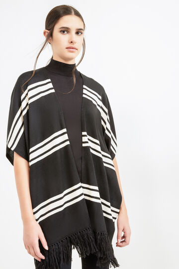 Striped cape with fringes, Black/White, hi-res