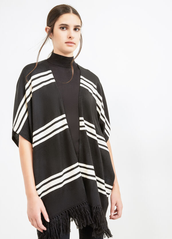 Striped cape with fringes | OVS